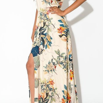 White Tropical Print Sleeveless Maxi Dress