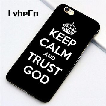 LvheCn 5 5S SE phone cover cases for iphone 6 6S 7 8 Plus X back skin Christian God Keep Calm and trust GOD Jesus Christ Quote