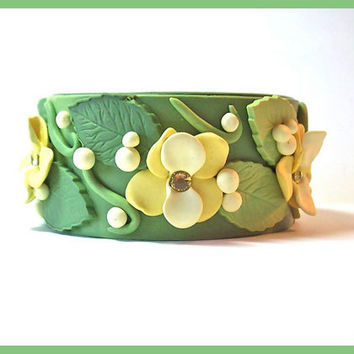 Cuff Bracelet Sage Green and Yellow Polymer Clay 1 1/4 in. wide Magnetic Clasp Swarovski Crystals Handcrafted Unique Design