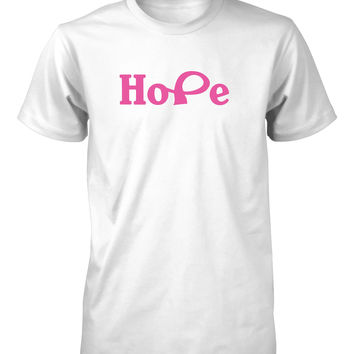 Hope Breast Cancer Awareness Pink Ribbon T-Shirt for Men