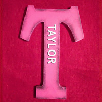 Taylor( Wooden name) pink letter monogram nursery decoration