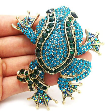 Authentic Lenora CZ Rhinestone Crystal Encrusted Handmade Tree Frog Decorative Collector's Brooch - Bouquet Brooch - Free Shipping