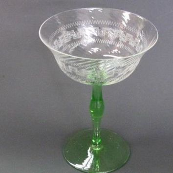 Vintage Green  dessert Glass- Clear bowl with optic and etch Pattern in Glass