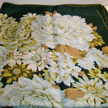 Vintage Echo Blue Floral Silk Scarf Flowers Fashion Accessories For Her