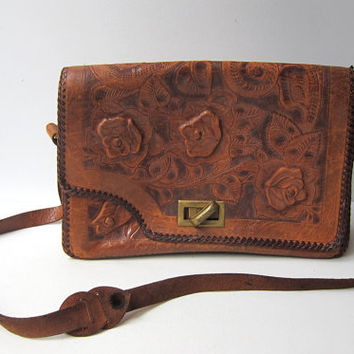 Vintage original hippie bohemian folk hand tooled tan leather shoulder bag