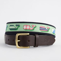 Men's Belts: Silk Whales Canvas Club Belt for Kentucky Derby -Vineyard Vines