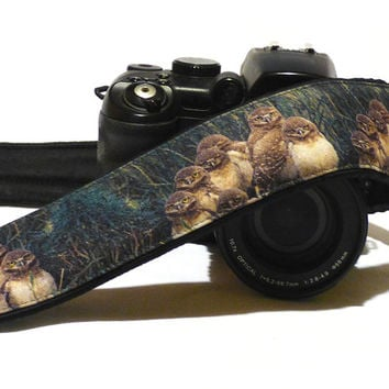 Owls Camera Strap. Nature Camera Strap. Original Camera Strap. Padded DSLR Camera Strap. Canon, Nikon Camera Strap. Accessories. Etsy Gifts