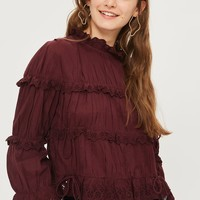 Broderie ruffle high neck top - Clothing