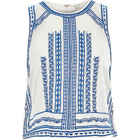 River Island Womens Cream embroidered sleeveless tank top