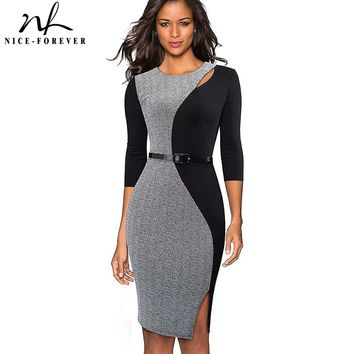 Nice-forever Vintage Contrast Color Patchwork Wear to Work vestidos O Neck Party Bodycon Office Business Women Dress B478