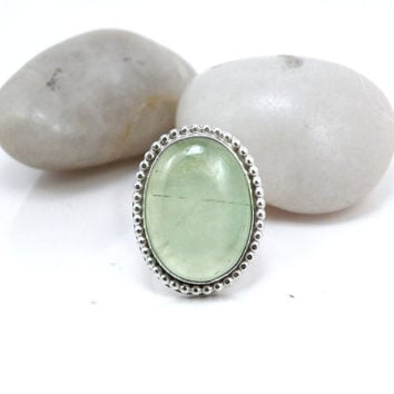 Sterling Silver Ring, Green Prehnite Ring, Size 7 One of a Kind Jewelry, Stone Cocktail Ring - Summer Dew Ring