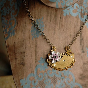 Steampunk Flower Necklace Art Nouveau Briar Rose by bionicunicorn