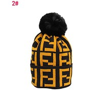 """FENDI"" Autumn Winter Couple Double F Letter Knit Hat Warm Woolen Cap 2#"