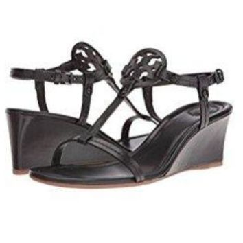 CREY3DS Tory Burch Miller 60mm Black Leather Wedge Sandal (8.5) d3c475eaba
