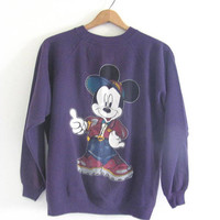 Vintage 80s purple Mickey Mouse Sweatshirt / size L