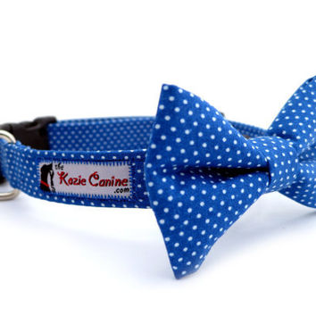 Polka Dot Dog Collar Blue & White Matching Bow by theKozieCanine
