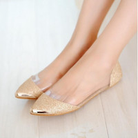 Shiny Pointed Ballet Flat Shoes