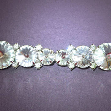 Large Clear Rivoli Bar Brooch-Pin, Margarita Crystal, Vintage 3.5 inches