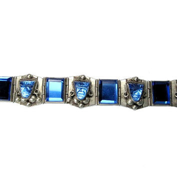 Blue Glass Mayan Mask Bracelet Sterling Silver 6.5 inches Taxco
