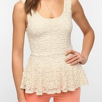 Pins and Needles Daisy Lace Peplum Tank Top