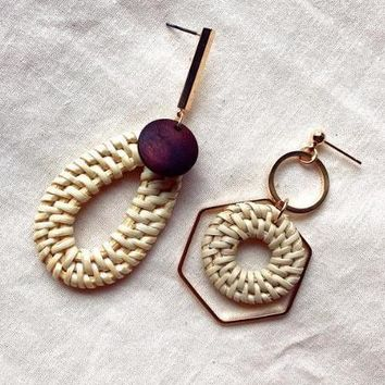 Rattan Vine Straw Weave Missmatch Earrings