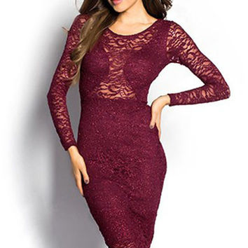 Claret Sparkly Long Sleeve Lace Cut out Midi Dress  #CL83940