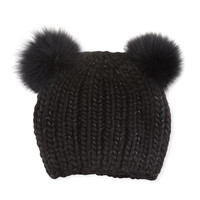 Eugenia Kim Mimi Tonal Double Fur Pompoms Beanie Hat, Black
