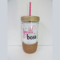Personalized Mason Jar * Sparkle Boss * Personalized gift * Tumbler * 24oz Mason jar Tumbler * Personalized tumbler * Bride Tumbler