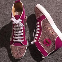 KUYOU Christian Louboutin red sole classic rivet Roller Boat CL high top sneakers