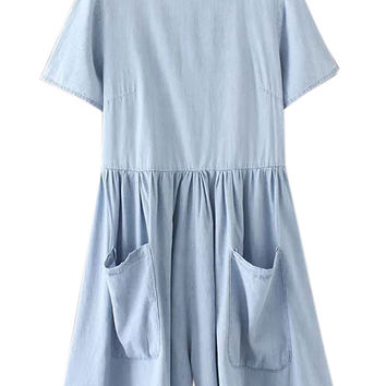 Light Blue Short Sleeve Wide Leg Romper Playsuit