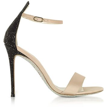 Rene Caovilla Celebrita Nude Satin Sandals w/Black Crystals