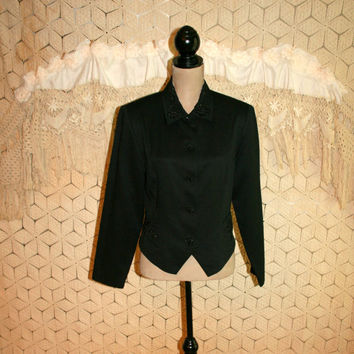 Womens Tuxedo Jacket Formal Black Cocktail Jacket 80s Beaded Jacket Black Formal Jacket Vintage Clothing Size 10 Medium Womens Clothing