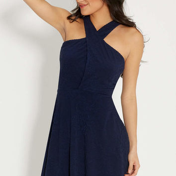 textured dress with crossover front | maurices