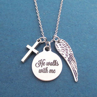 Angel, Wng, Cross, He walks with me, Silver, Necklace, Birthday, Best friends, Mom, Sister, Gift, Jewelry