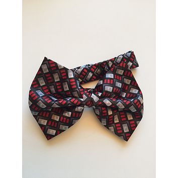Burgundy, Black and Grey Bow Tie