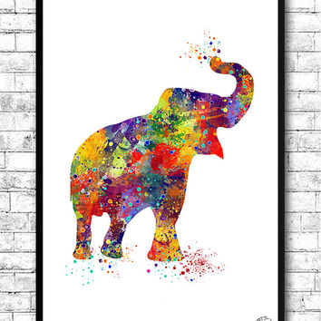 Elephant Watercolor print Animal Wall decor Children Boy Girl Kids Baby Room Nursery Interior Decor Bedroom Children's art Elephant poster