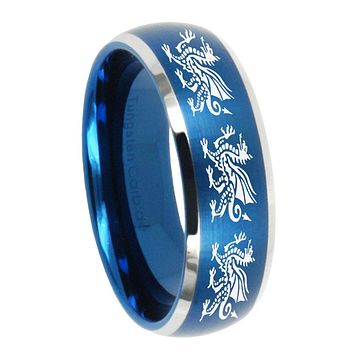 10mm Multiple Dragon Dome Brushed Blue 2 Tone Tungsten Men's Promise Rings