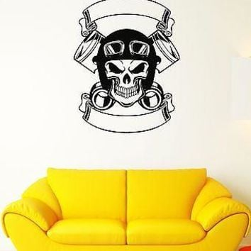 Wall Decal Biker Motorcycle Skull Rocker Helmet Bike Vinyl Stickers Unique Gift (ed021)