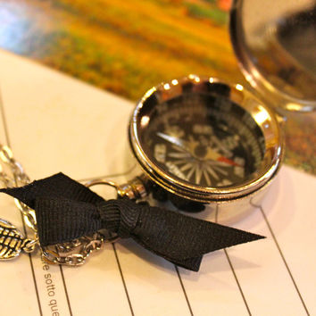 Compass Necklace Follow Your Dreams Quote Compass Working