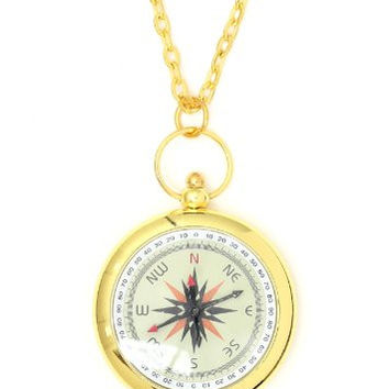 Compass Explorer Necklace Gold Tone Antique NL42 Map Scout Directions Charm Pendant Fashion Jewelry