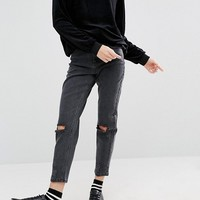ASOS PETITE Farleigh Slim Mom Jeans In LuLu Washed Black With Busted Knees at asos.com