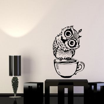 Wall Decal Owl Coffee Morning Cup Bird Kitceh Decoration Vinyl Sticker (ed931)