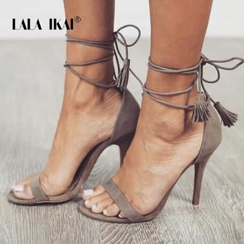 LALA IKAI Fringe Gladiator Sandals Women Lace up High Heels Women Suede Cross Strap Sandal Summer Party Shoes 900C0671-4
