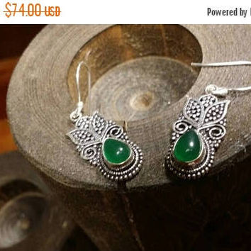 SUMMER SALE 70% Off Green Onyx  Gemstone Earrings 925 Sterling silver Jewelry TheUnlikelyBandit