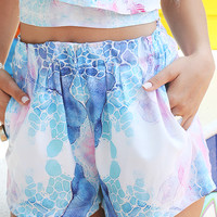 Bossy The Label - Daze Shorts - Reflection Print Multicolor Pleated Waist Shorts