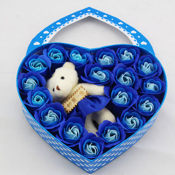 Heart-shaped rose soap flowers girlfriend bear valentine's day gift box jewelry creative soap soap flower gift box Blue