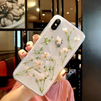 Real Flowers Dried Flowers Soft TPU Back Cover For iPhone X 6 6S 7 7plus Case Transparent Phone Case for iphone 8 8plus