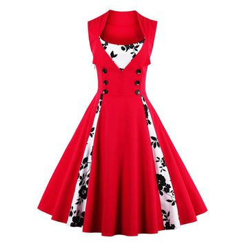 Vintage Dress Clear Stock Cheap Price Women 50s Red Retro Dress Patchwork Sleeveless Dress Casual Evening Party Rockabilly Swing