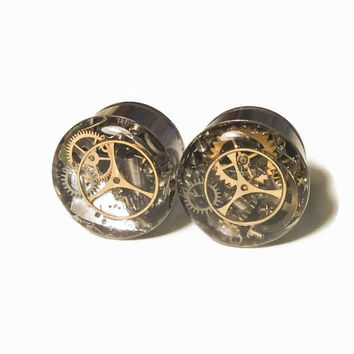 5/8 Single Flare Steampunk Tunnels Gauges Plugs filled with watch parts LIMITED EDITION