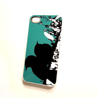 Plastic Cell Case iPhone 4 4S Ships from USA Original Artwork End of the Day Teal and Black